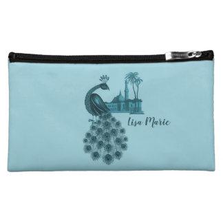 Romantic Blue Peacock Cosmetic Bag