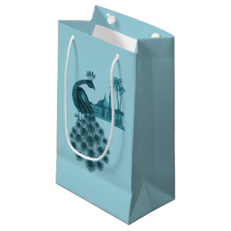 Romantic Blue Peacock Small Gift Bag