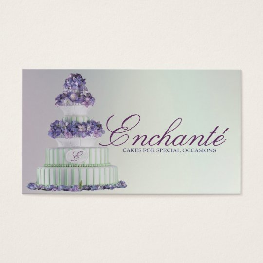 Romantic Blue Purple Hydrangea Wedding Cake Business Card