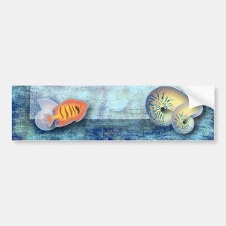Romantic Blue Seashell Beach Wedding Favour Bumper Stickers