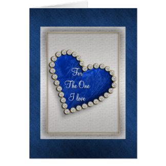 Romantic blue silver diamond heart cards