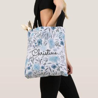 romantic blue watercolor floral tote bag