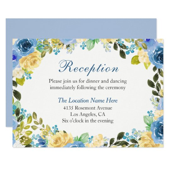 Romantic Blue Yellow Rose Garden Reception Card
