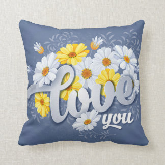 Romantic Blue, Yellow & White Camomile floral Cushion
