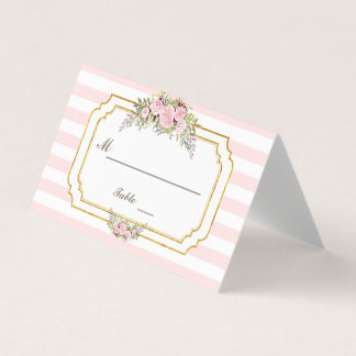 Romantic Blush Pink Stripes Floral Table Number Place Card