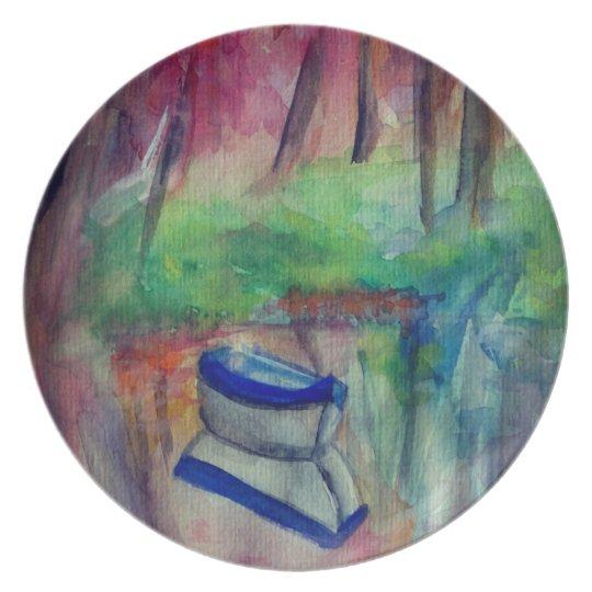 Romantic Boat Watercolor Art Melamine Plate