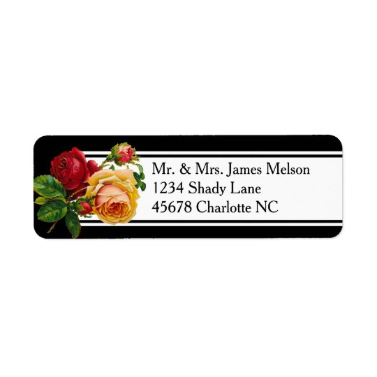 Romantic Bohemian Vintage Roses Address