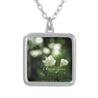 Romantic bokeh flower I love you Square Pendant Necklace
