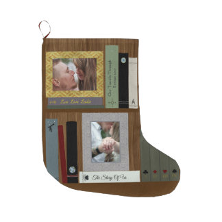 Romantic Book Lover Book Shelf Personalized Large Christmas Stocking