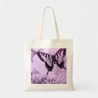 romantic botanical art bohemian butterfly tote bag