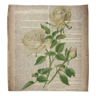 romantic botanical flower art girly white rose do-rags
