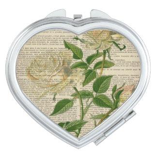 romantic botanical flower art girly white rose mirrors for makeup