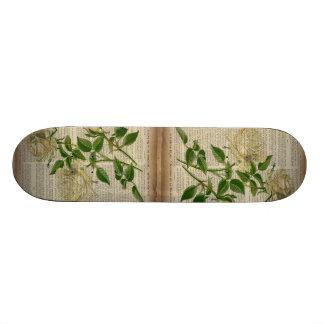 romantic botanical flower art girly white rose custom skate board