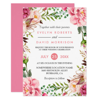 Romantic Botanical Pink Floral Wedding Celebration 13 Cm X 18 Cm Invitation Card