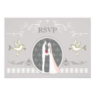 Romantic Bride Groom Doves RSVP Announcements