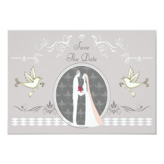 Romantic Bride, Groom & Doves Save The Date Custom Announcement