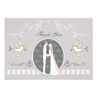Romantic Bride Groom Doves Thank You Custom Invite