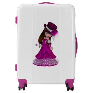 Romantic Brown Haired Girl  Medium Sized Luggage