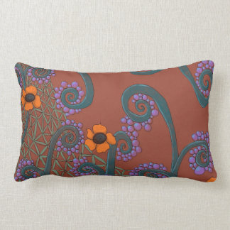 Romantic Brown Throw Pillow With Flower Design