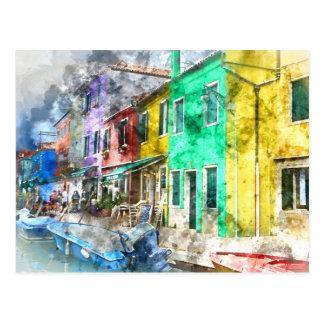 Romantic Burano Italy near Venice Italy Postcard