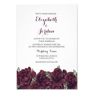 Romantic Burgundy Rose Elegant Wedding Invitation