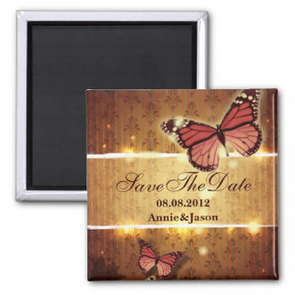 romantic butterfly fall wedding save the date square magnet