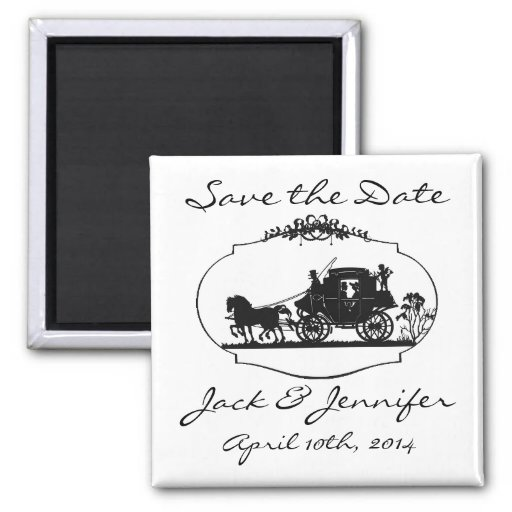 Romantic Carriage Silhouette - Save the Date Fridge Magnets