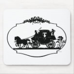 Romantic Carriage Sillhouette Mouse Pad