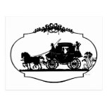 Romantic Carriage Sillhouette Postcard