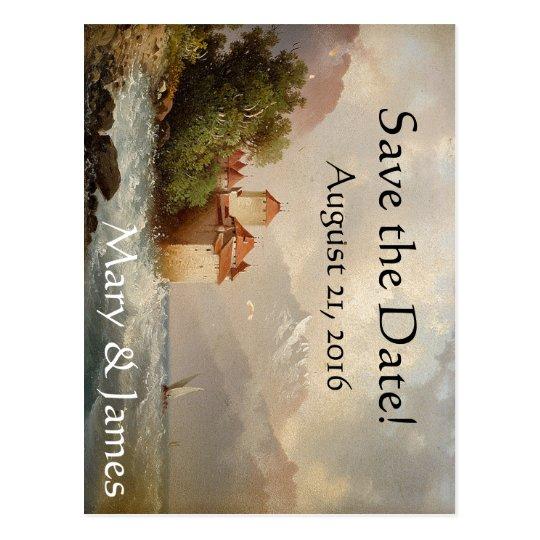 Romantic Castle Lake Save the Date Postcard