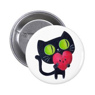 Romantic Cat - custom text - 6 Cm Round Badge