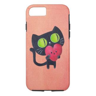 Romantic Cat hugging Red Cute Heart iPhone 8/7 Case