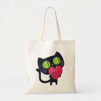 Romantic Cat hugging Red Cute Heart Tote Bag