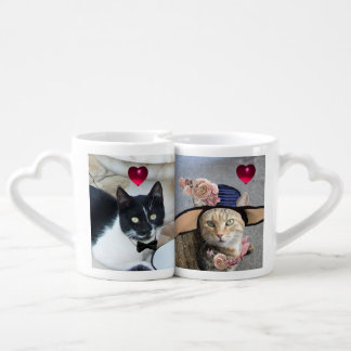 ROMANTIC CAT LOVERS WITH HEARTS Valentine's Day Lovers Mug