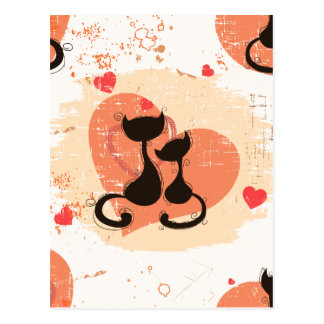 Romantic cats in love postcard