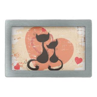 Romantic cats in love rectangular belt buckle