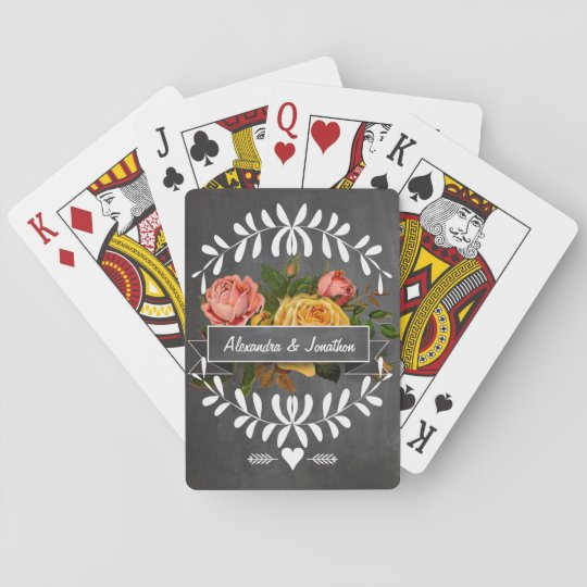 Romantic Chalkboard Vintage Garland Floral Roses Playing Cards