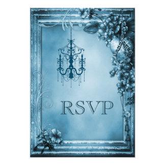 Romantic Chandelier Heart Flowers RSVP Announcement