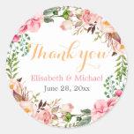 Romantic Chic Floral Decor Thank You Round Sticker