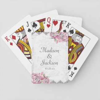 Romantic Chic Peony Floral & Lace Wedding Favor Poker Deck