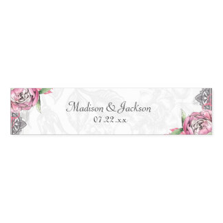 Romantic Chic Peony Floral & Lace Wedding Monogram Napkin Band