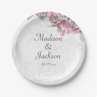 Romantic Chic Peony Floral & Lace Wedding Monogram Paper Plate