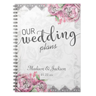 Romantic Chic Peony Floral & Lace Wedding Planner Notebook