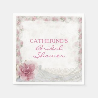 Romantic Chic Pink Rose Bridal Shower Napkin