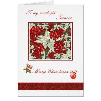 Romantic Christmas card for Fiancee - Poinsettias
