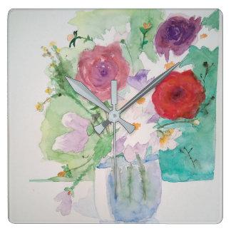 Romantic clock flower watercolour