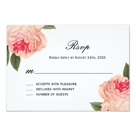 Romantic Coral Peonie with Stripes RSVP Cards