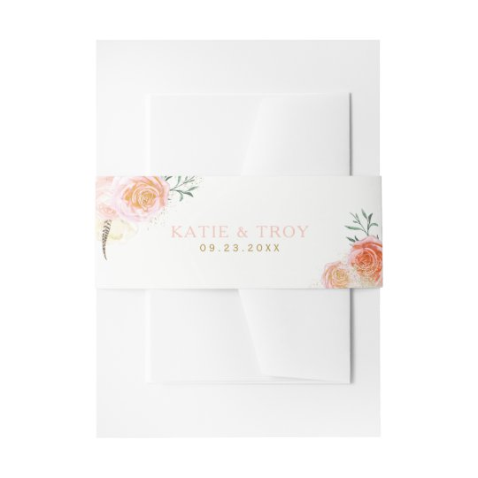 Romantic Coral, Pink and Peach Belly Bands Invitation