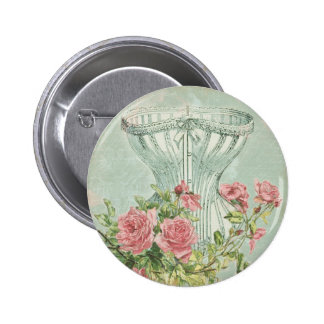 Romantic Corset Vintage Pink Roses Mint Textured 6 Cm Round Badge