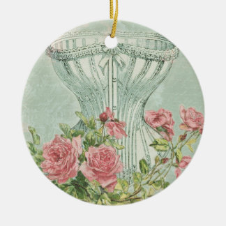 Romantic Corset Vintage Pink Roses Mint Textured Christmas Ornament